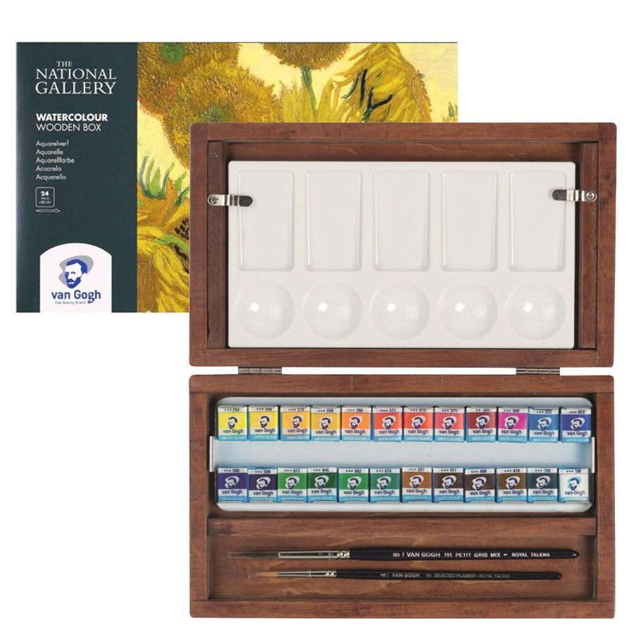 Купить Набор акварели Talens Van Gogh National Gallery 24 цв кюветы, деревянная коробка, Royal Talens