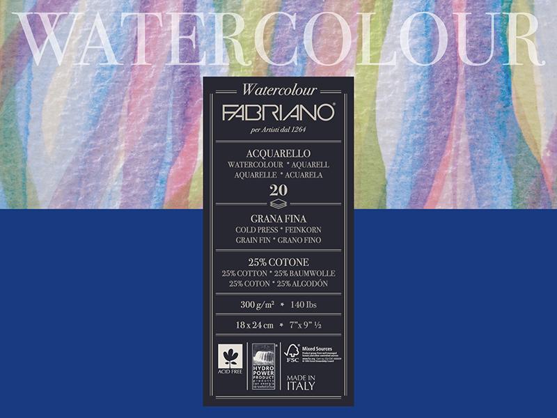 Купить Блокнот-склейка для акварели Fabriano Watercolour 18х24 см 20 л 300 г, Италия