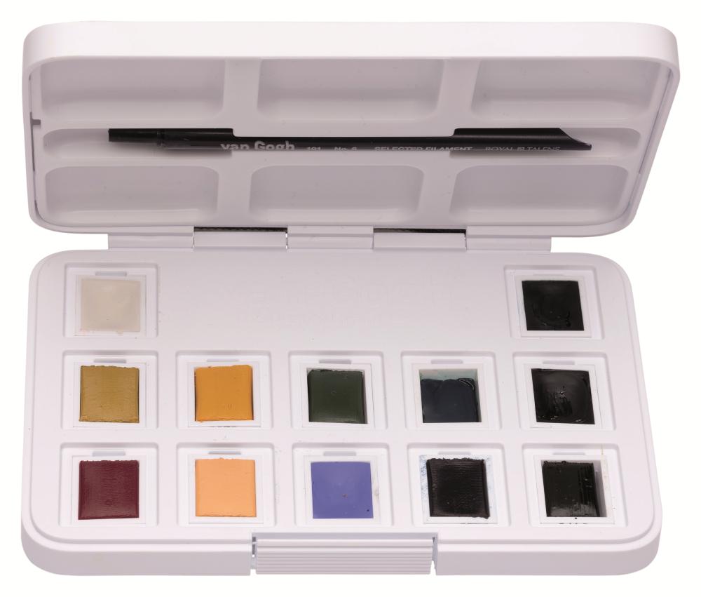 Купить Набор акварели Talens Van Gogh Muted Colours (приглушенные цвета) 12 кювет + кисть, пластиковая у, Royal Talens
