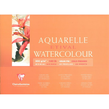 Купить Альбом-склейка для акварели Clairefontaine Etival Fin 30х40 см 25 л 300 г 100% целлюлоза, Франция
