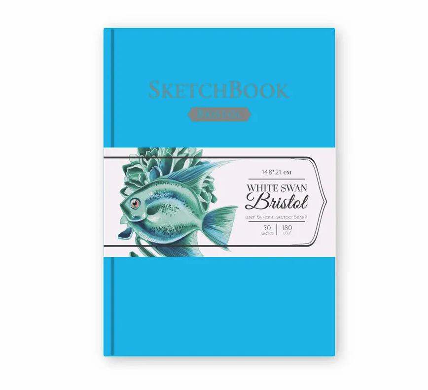Купить Скетчбук для графики и маркеров Малевичъ White Swan Bristol голубой А5 50 л 180 г, Россия