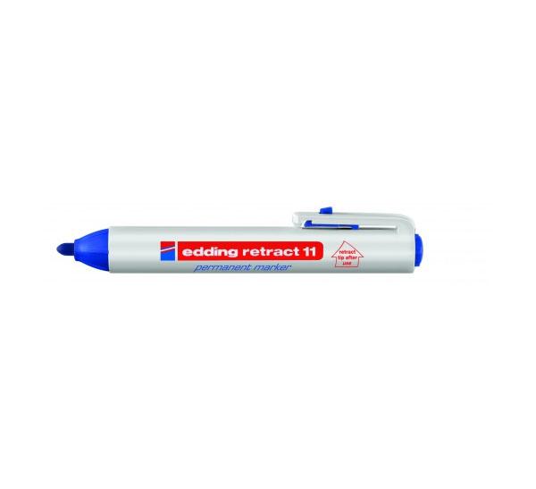 Купить Маркер перманентный Edding 11 1, 5-3 мм с круглым наконечником, с кнопкой, синий, Германия