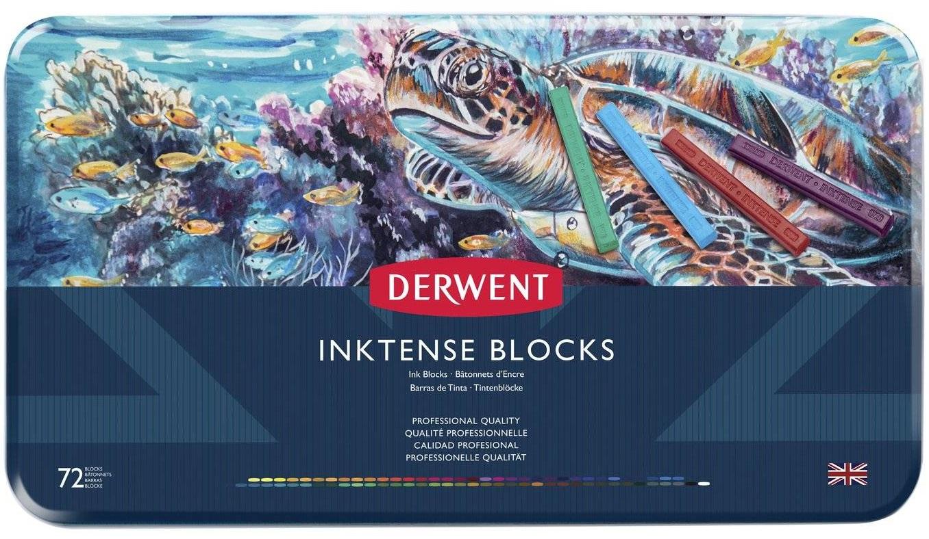 Купить Набор чернильных блоков Derwent Inktense 72 цв 75*8 мм в метал кор