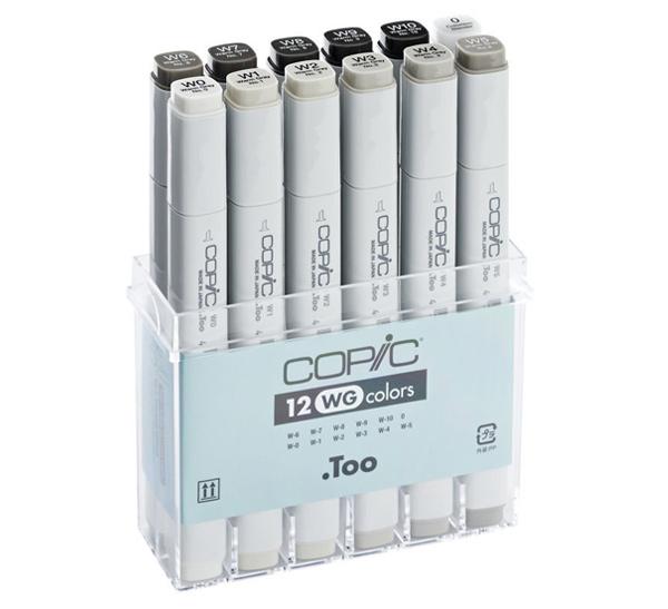 Купить Набор маркеров Copic 12 шт А4 теплых серых оттенков, в пластике, Copic Too (Izumiya Co Inc), Япония