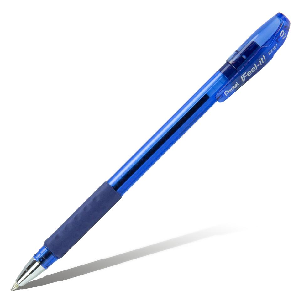 Купить Ручка шариковая Pentel Feel it!, 0, 7 мм, метал. наконечник, 3-х гранная зона захвата, синий стержень, Япония