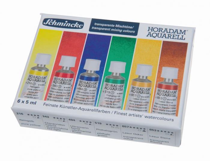 Купить Набор акварели Schmincke Horadam в тубах 6 цв*5 мл прозрачные для смешивания, в картонной коробке, Германия