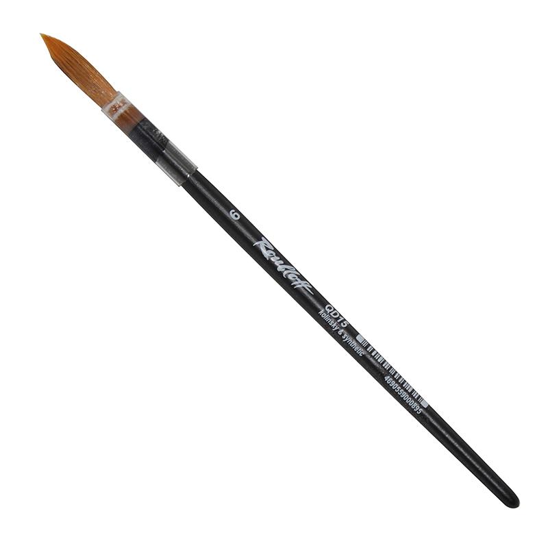 Купить Кисть колонок микс №6 круглая Roubloff QD15 короткая ручка, в пленочной обойме, Россия