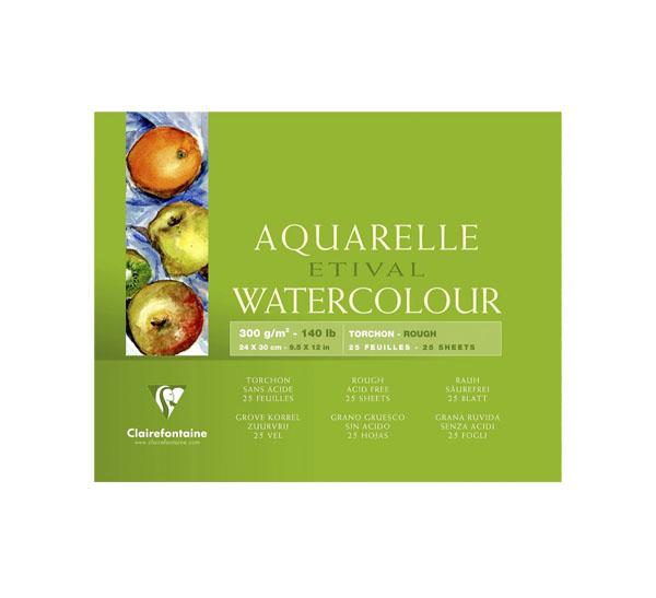 Купить Альбом-склейка для акварели Clairefontaine Etival Torchon 24х30 см 25 л 300 г 100% целлюлоза, Франция