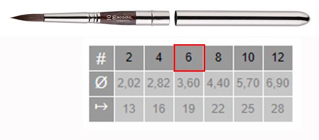 Купить Кисть синтетика №6 круглая Escoda Versatil 1548 ручка съемная металлическая, Испания