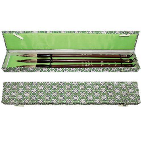 Купить Набор кистей для каллиграфии 3 шт волос смешанный, ручка бамбуковая в подарочной упаковке, Китай