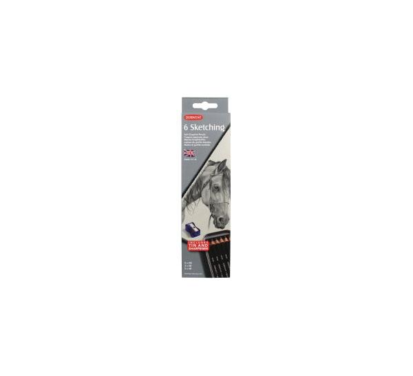 Купить Набор карандашей чернографитных Derwent Sketching 6 шт (2B-4B) в металл коробке