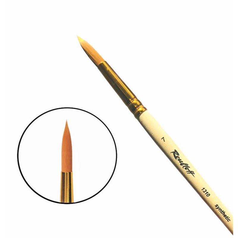 Купить Кисть синтетика №7 круглая Roubloff 1310 короткая ручка п/лак, Россия