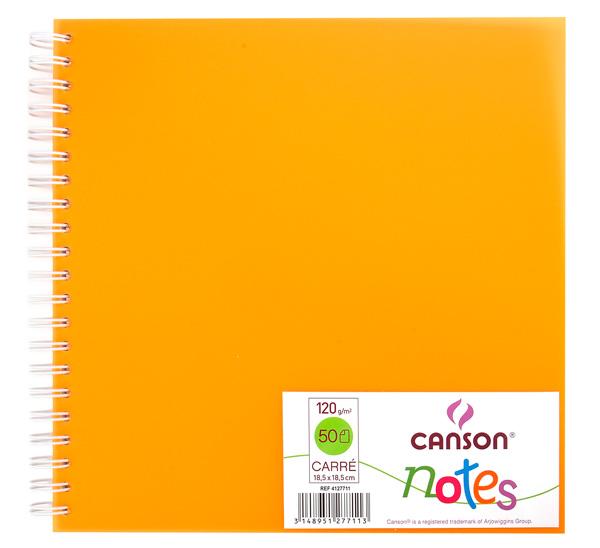 Купить Блокнот для графики на спирали Canson Notes 18, 5х18, 5 см 50 л 120 г, обложка пластик. оранжевая, Франция
