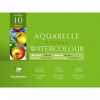 Купить Альбом-склейка для акварели Clairefontaine Etival Torchon 30х40 см 25 л 300 г 100% целлюлоза, Франция