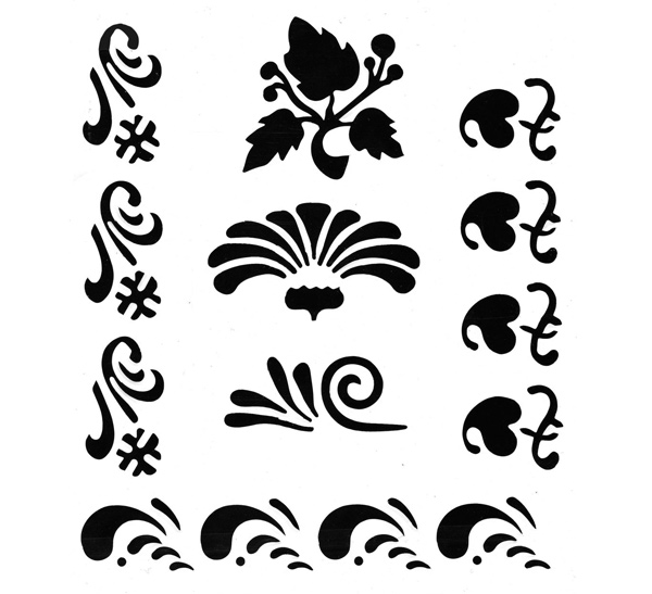 Купить Трафарет плаcтиковый ЗХК 22*25 см растительный орнамент (элементы рисунка: цветы и волны), Невская Палитра, Россия