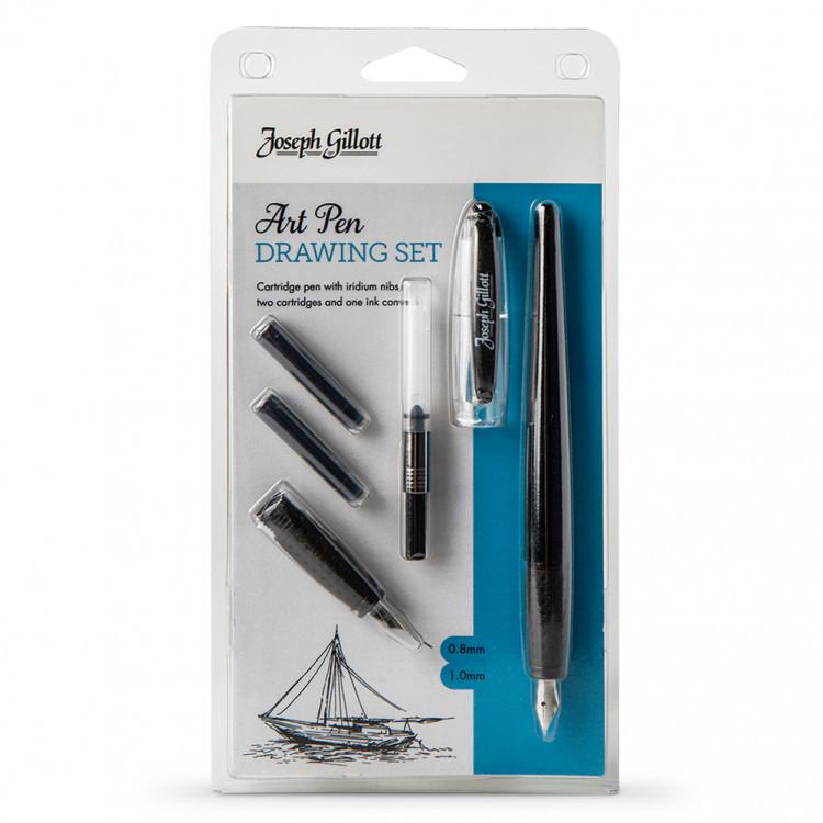 Купить Ручка перьевая William Mitchell Gillott Art 0, 8 мм и 1, 0 мм + конвертор и черн. картридж 2 шт