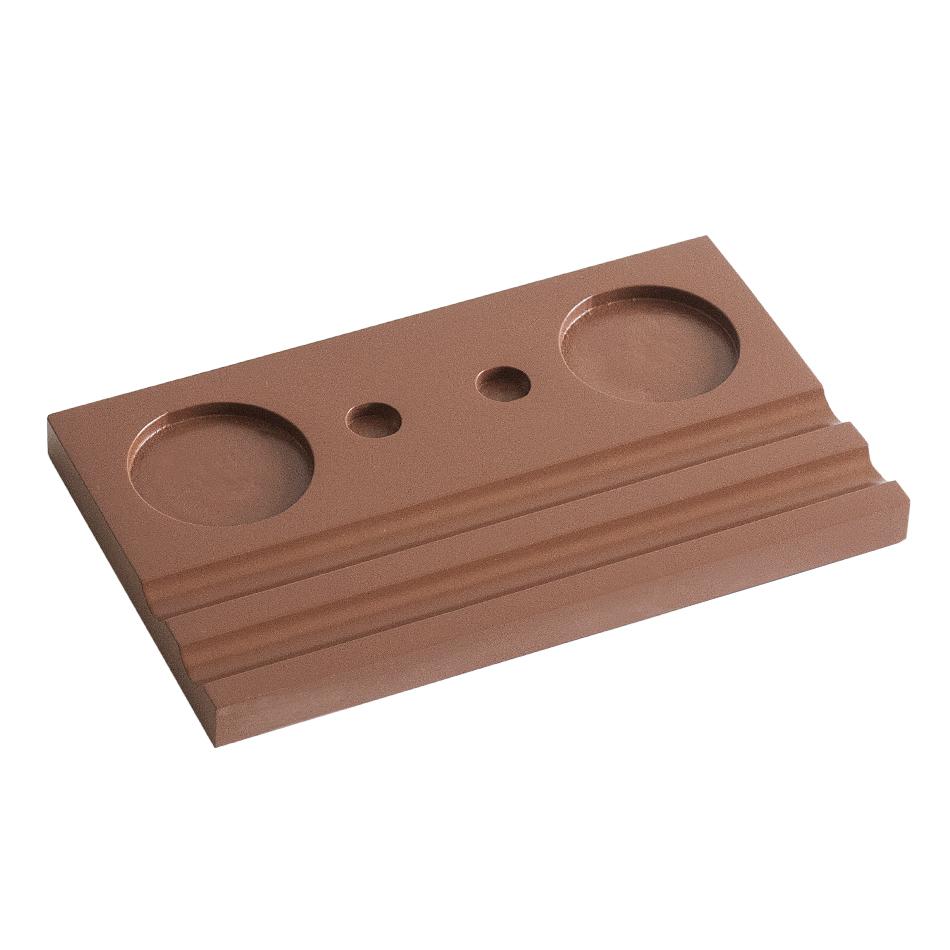 Подставка для чернильницы-непроливайки двойная, цвет коричневый