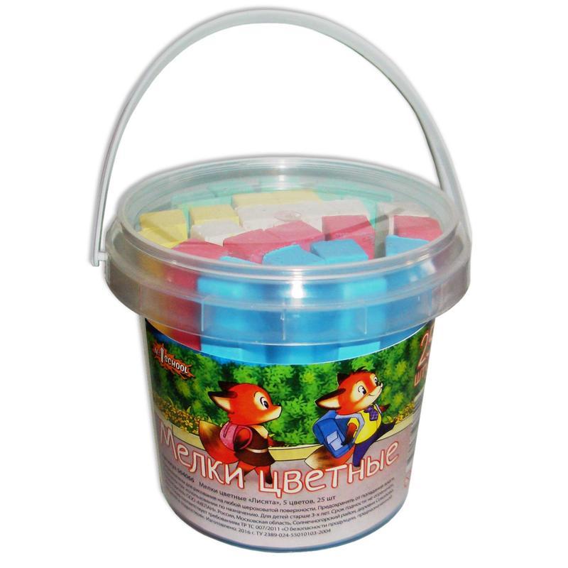 Мел школьный №1 School Лисята 5 цв, пластиковое ведро, Россия  - купить со скидкой