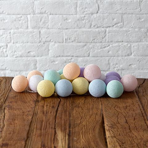 Купить Гирлянда из хлопковых шариков Lares & Penates мультилайт 20, от батареек, Lares & Penates