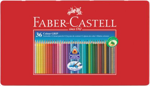 """Набор карандашей акварельных Faber-castell """"Colour Grip"""" 36 цв в металле"""