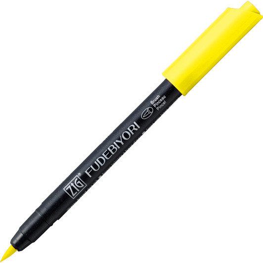 Купить Ручка на водной основе, перо кисть ZIG Kuretake Fudebiyori Желто-лимонный, Япония