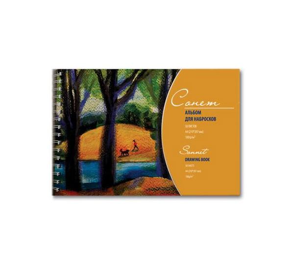 Купить Альбом для рисования на спирали Сонет Серая 35х49 см 50 л 78 г, Невская Палитра, Россия