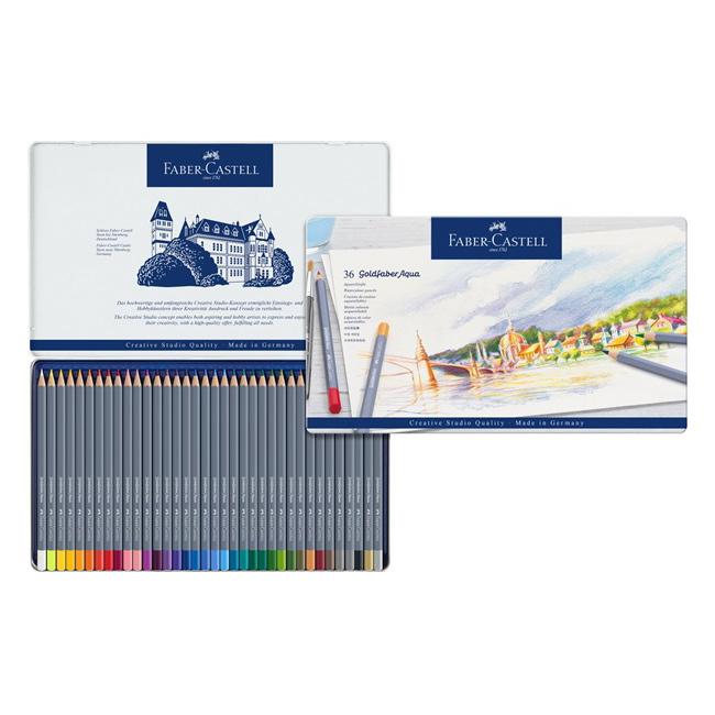 Купить Набор карандашей акварельных Faber-castell Goldfaber Aqua 36 цв, в металлической коробке, Faber–Сastell, Германия