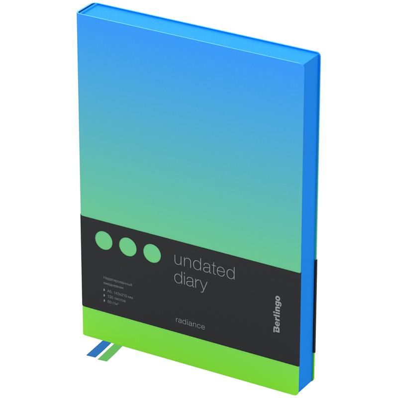 Купить Ежедневник недатированный Berlingo Radiance A5 136 л, кожзам, голубой/зеленый градиент, Россия