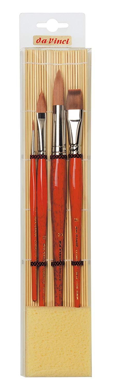 Набор кистей Синтетика Da Vinci 4 шт круглая и плоская на бамбуковой подложке