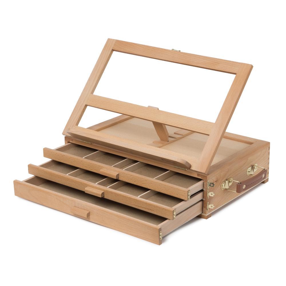 Купить Мольберт настольный Pinax TE-03B с органайзером для пастели/карандашей/кистей, 3 лотка, бук, Китай