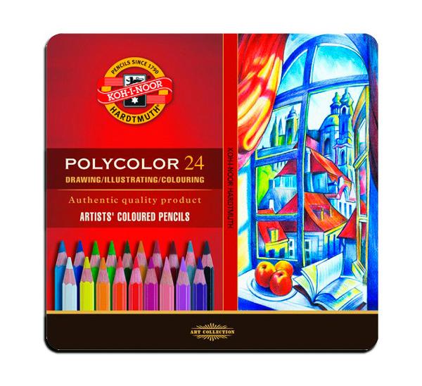 Купить Набор карандашей цветных Koh-I-Noor Polycolor 24 шт в металле, KOH–I–NOOR, Чехия