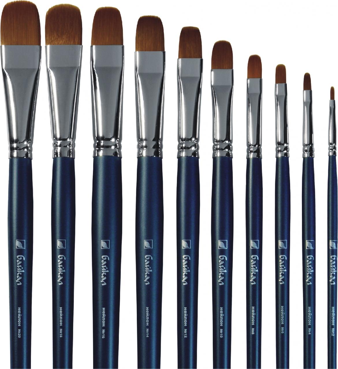 Купить Кисть синтетика №16 овальная Альбатрос Байкал длинная ручка, Россия