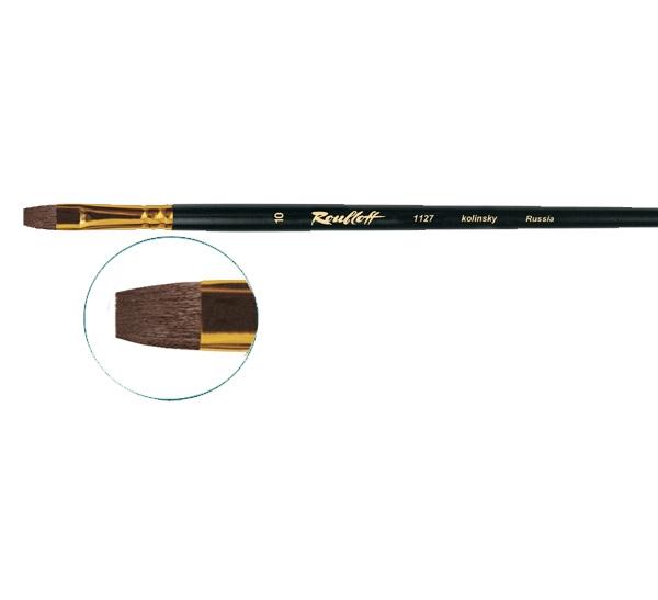 Купить Кисть колонок №10 плоская Roubloff 1127 длинная ручка, матовая, Россия