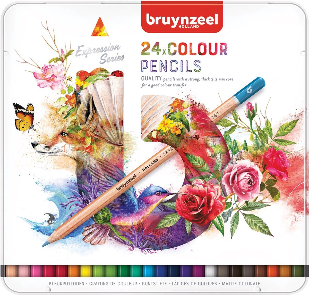 Купить Набор карандашей цветных Bruynzeel Expression 24 шт в металлической коробке