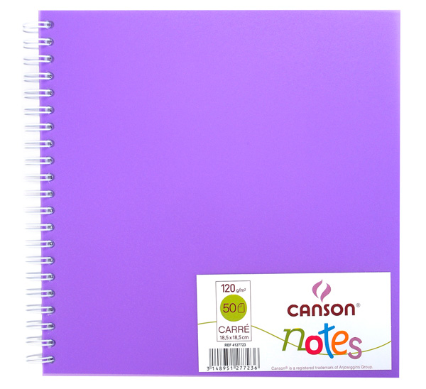 Купить Блокнот для графики на спирали Canson Notes 18, 5х18, 5 см 50 л 120 г, обложка пластик. фиолетовая, Франция