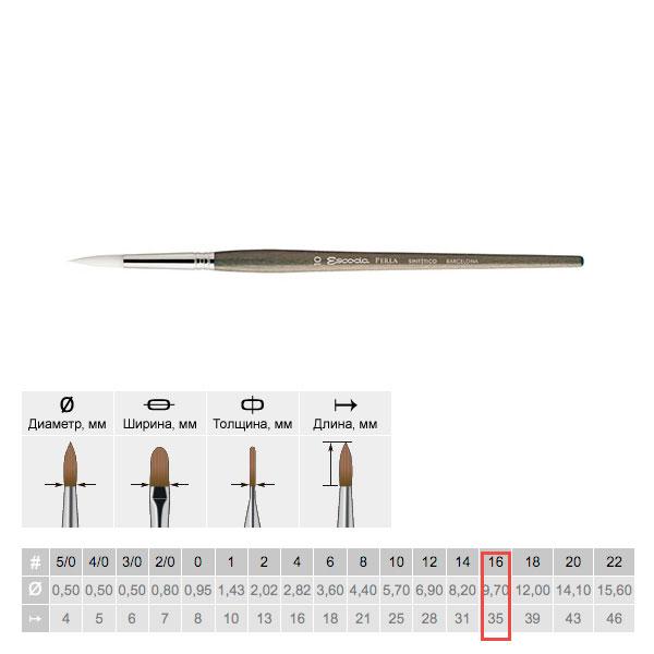 Купить Кисть синтетика №16 круглая Escoda Perla 1430 White Toray короткая ручка серая, Испания