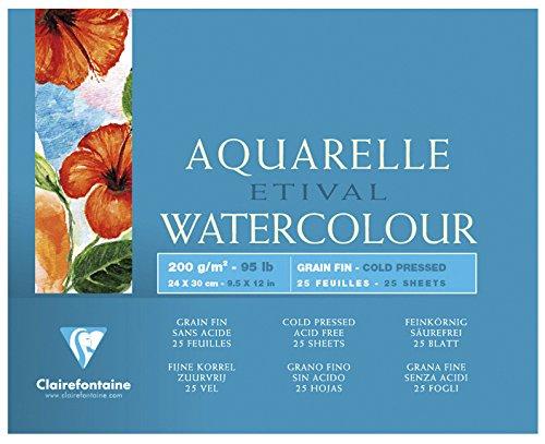 Купить Альбом-склейка для акварели Clairefontaine Etival Fin 24х30 см 25 л 200 г 100% целлюлоза, Франция