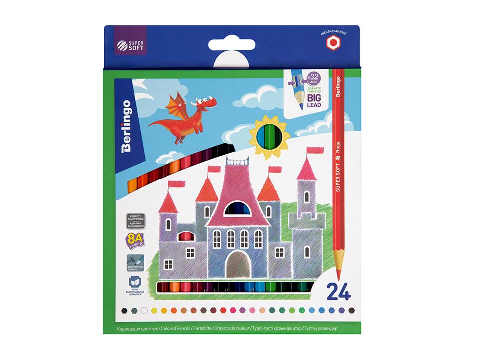 Купить Набор карандашей цветных Berlingo SuperSoft. Замки 24 цв, картон, европодвес, Россия