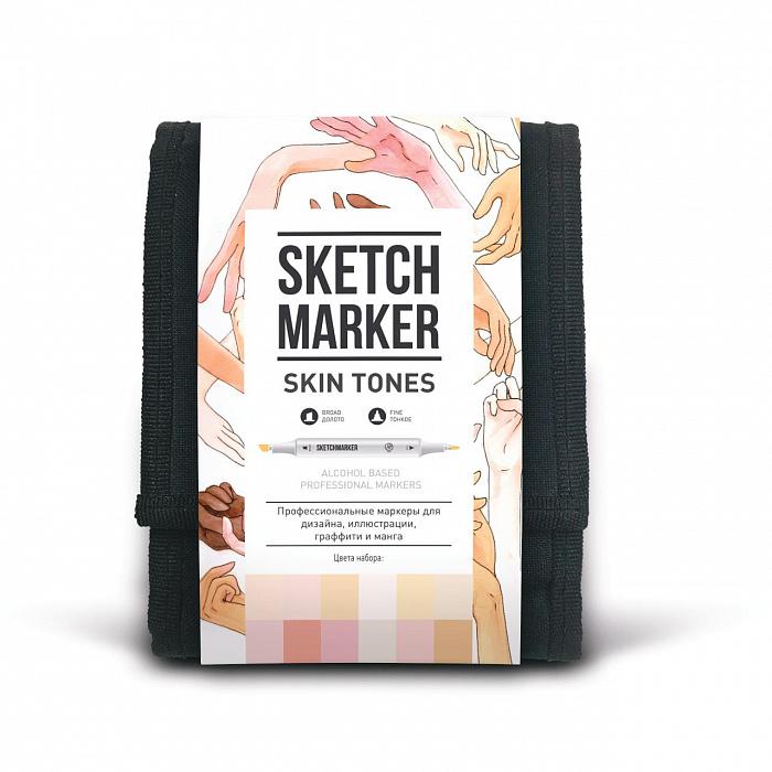 Купить Набор маркеров Sketchmarker Skin tones 12- Оттенки кожи (12 маркеров+сумка органайзер), Япония
