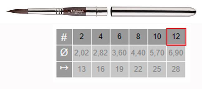 Купить Кисть синтетика №12 круглая Escoda Versatil 1548 ручка съемная металлическая, Испания