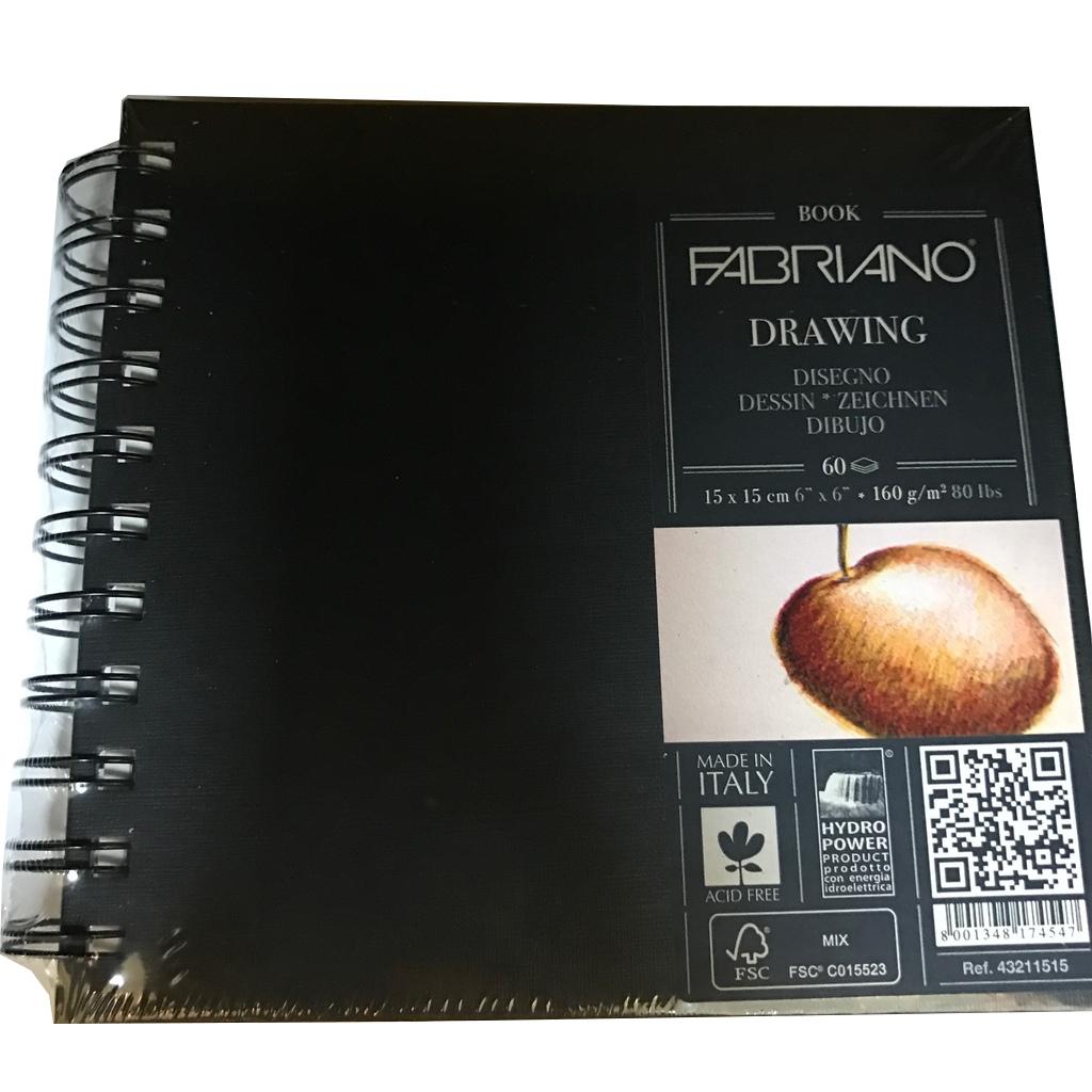 Блокнот для эскизов на спирали Fabriano Drawing Book15x15 см 60 л 160 г твердая обложка.