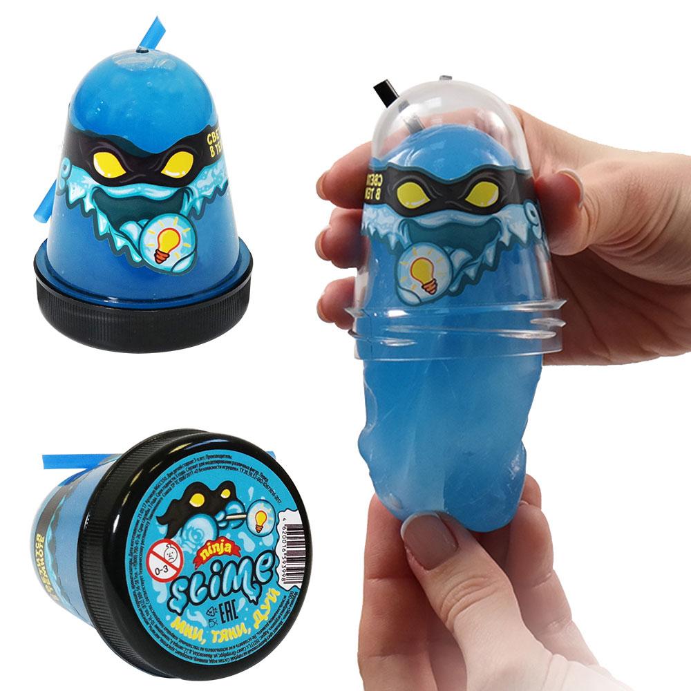 Игрушка Slime Ninja, светится в темноте, голубой, 130 гр, Волшебный мир, Россия  - купить со скидкой