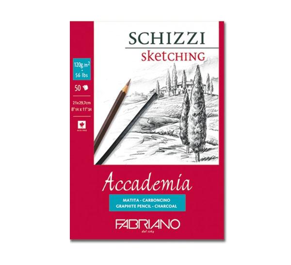 Купить Блокнот для эскизов на спирали Fabriano Accademia sketching 14, 8х21 см 50 л 120 г, Италия