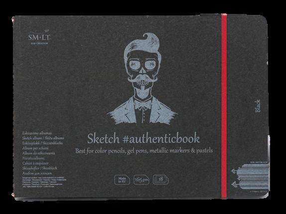 Купить Скетчбук Smiltainis Black #authenticbook (черный) с резинкой 24, 5x17.6 см 18 л 165 г, Литва