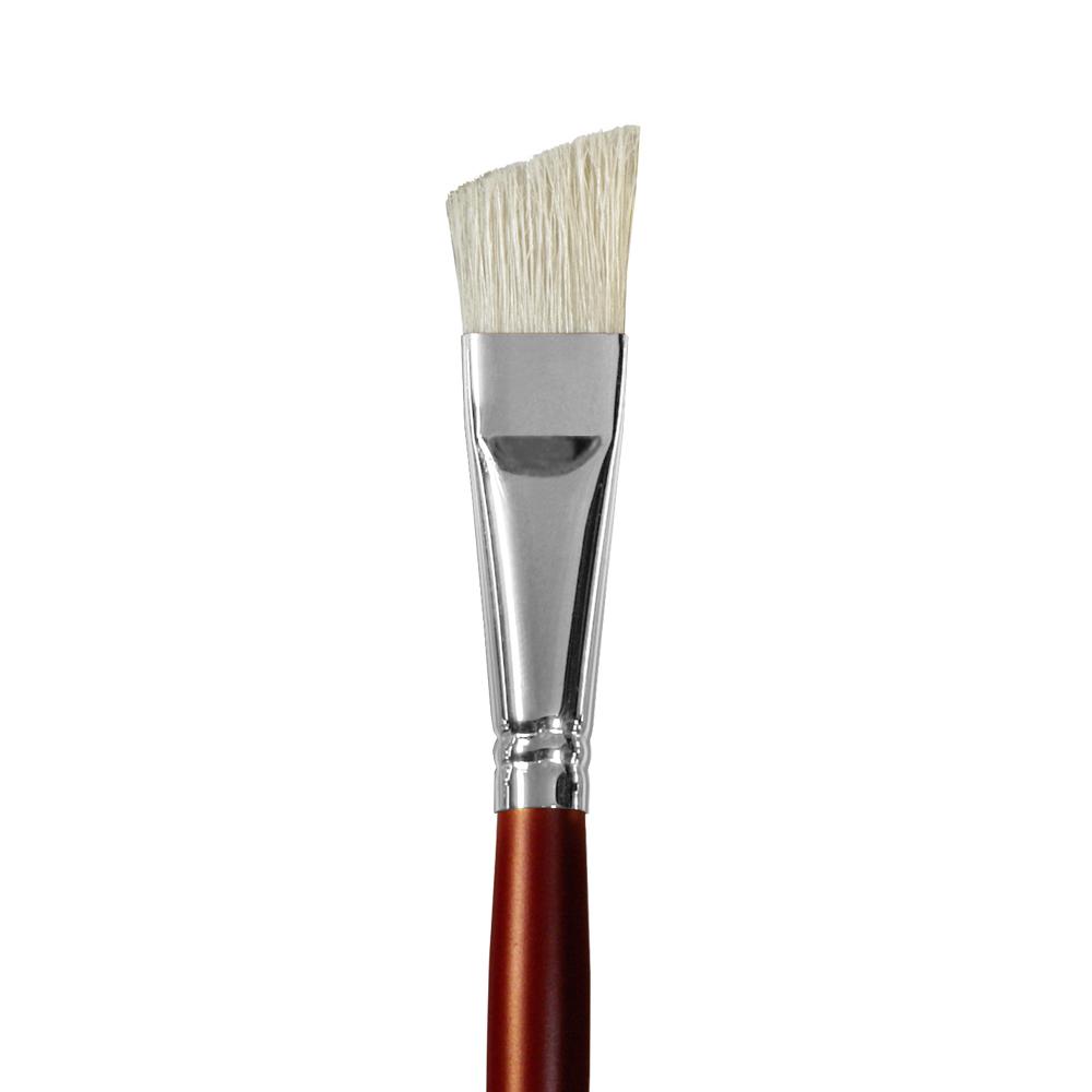 Купить Кисть щетина №18 плоская скошенная Альбатрос Студио длинная ручка, Россия