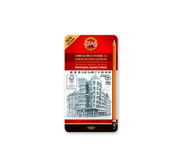 Купить Набор карандашей чернографитных Koh-I-Noor 12 шт (6В-6Н) трехгранные, в металл коробке, KOH–I–NOOR, Чехия