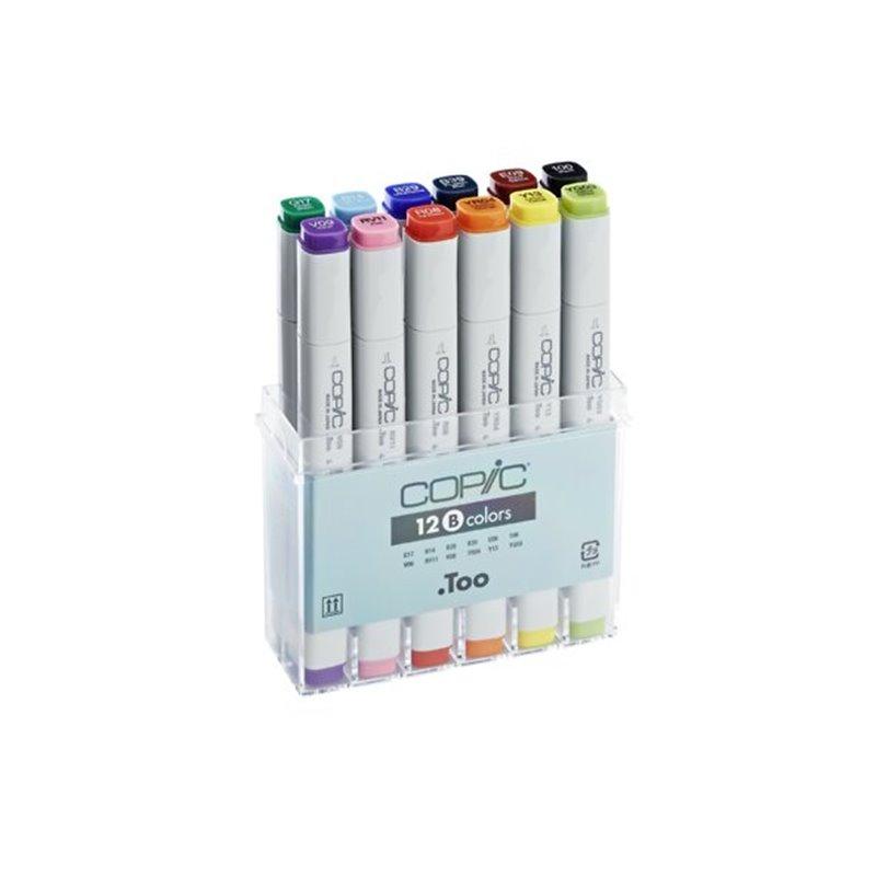 Купить Набор маркеров двухсторонних COPIC B 12 шт базовый, в пластиковом контейнере, Copic Too (Izumiya Co Inc), Япония