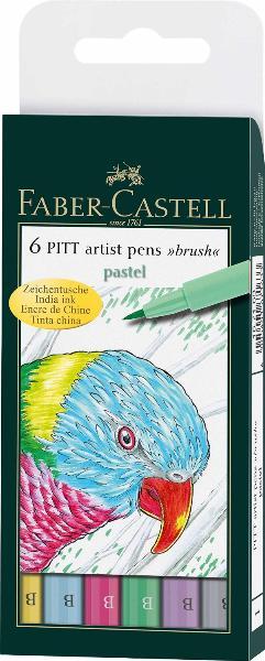 Купить Набор маркеров профессиональных Faber-castell Pitt artist pen 6 цв (пастельные оттенки), Faber–Сastell, Германия
