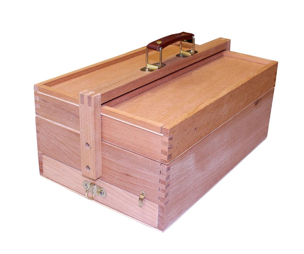 Купить Ящик деревянный (вяз) с ячейками и пеналом для кистей 23, 5х36, 5х15, 4 см, ХоББитания, Китай