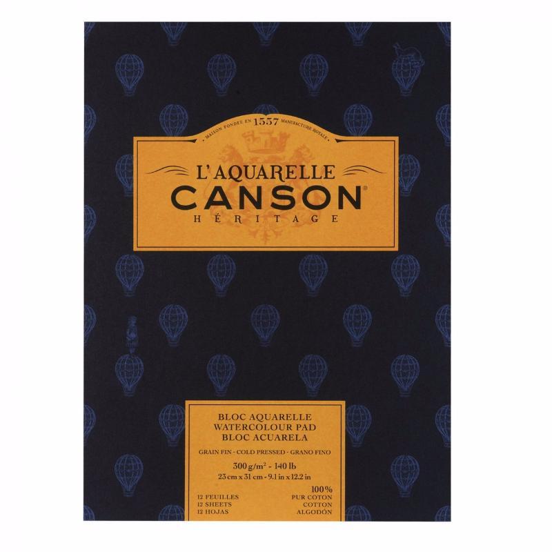 Купить Альбом-склейка для акварели Canson Heritage Fin 23x31 см 12 л 300 г, Франция